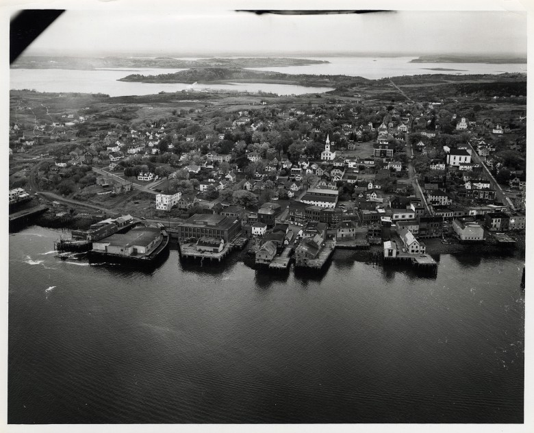 Aerial View, Waterfront Eastport, Maine. Looking West