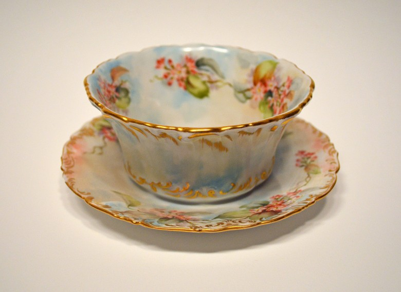 Cup and Saucer. Hand Painted China. [Eastport]