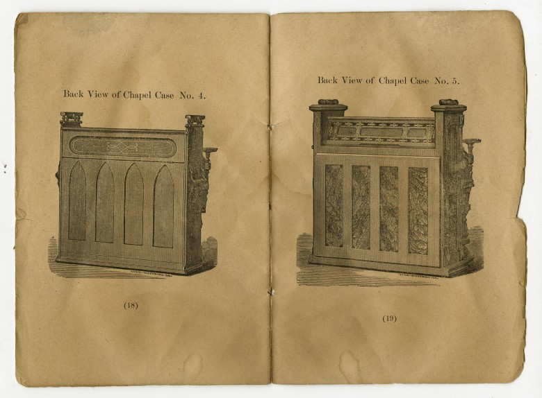 Back Views of Chapel Cases Nos 4 & 5. From Catalogue of Wm. E. Leighton & Co\'s Cabinet Organs [Pembroke]