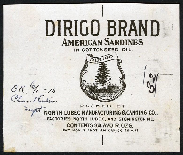 Dirigo Brand. American Sardines in Cottonseed Oil.
