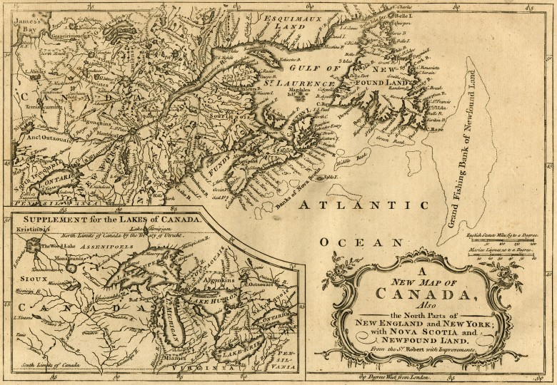 A New Map of Canada, Also the North Parts of New England and  New York; with Nova Scotia and Newfound Land