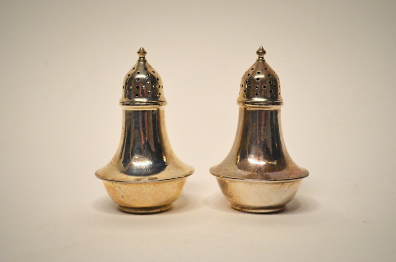 Salt and Pepper Shakers. [Silver]