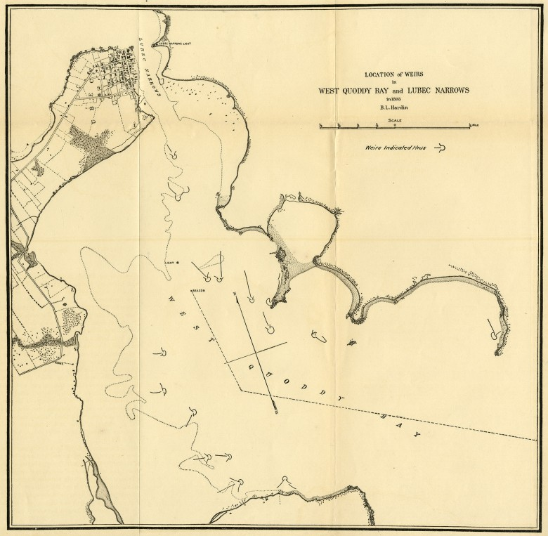 Location of Weirs in West Quoddy Bay and Lubec Narrows in 1893